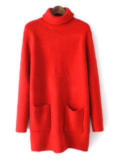 Pure Color Pockets Turtle Neck Long Sleeves Sweater - Red