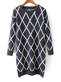 Argyle Pattern Round Neck Long Sleeves Sweater - Purplish Blue