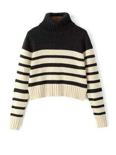 Turtle Neck Long Sleeve Striped Jumper - White And Black M