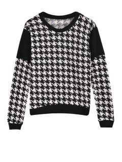 Houndstooth Jewel Neck Long Sleeve Sweatshirt - White And Black