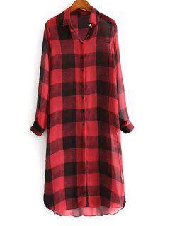 Plaid Shirt Collar Long Sleeves Long Shirt - Red Xl