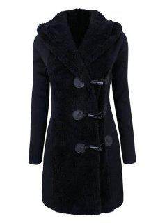 Hooded Horn Button Flocking Coat - Black 2xl