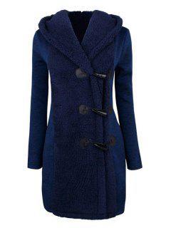 Hooded Horn Button Flocking Coat - Blue 2xl