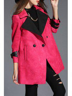 Faux Suede Nine-Minute Sleeve Coat - Red Xl