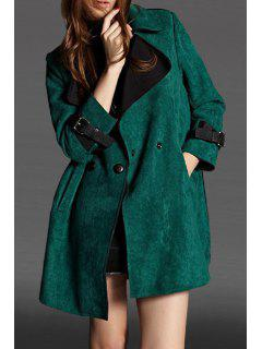Faux Suede Nine-Minute Sleeve Coat - Green L