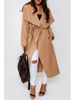 Solid Color Long Turn-Down Collar Woolen Coat - Camel L