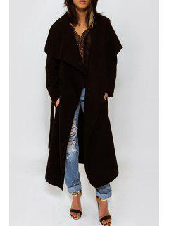 Solid Color Long Turn-Down Collar Woolen Coat - Black Xl