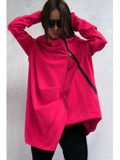 Hooded Irregular Zipper Trench Coat - Red M