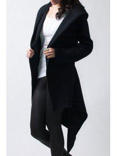 Black Irregular Hem Hooded Long Sleeve Coat - Black L