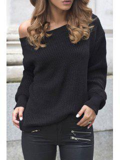 Skew Neck Long Sleeve Black Sweater - Black M