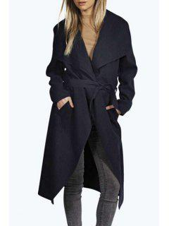 Large Lapel Self-Tie Belt Solid Color Coat - Blue Xl