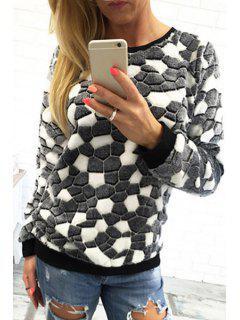 Color Mix Round Neck Long Sleeve Sweatshirt - Black L
