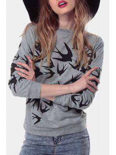 Full Swallow Print Long Sleeve Sweatshirt - Gray 2xl