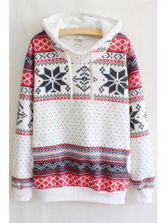 Snowflake Print Hooded Neck Long Sleeves Drawstring Hoodie - White L