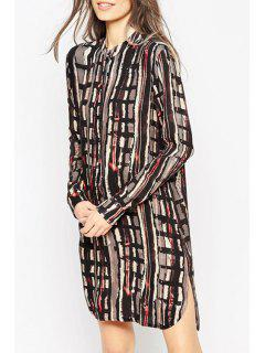 Long Sleeve Abstract Print Side Slit Dress - S