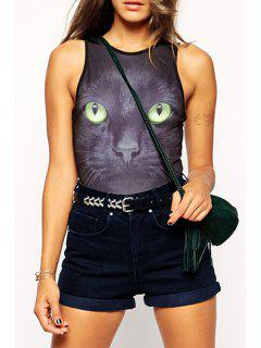 Black Cat Print Sleeveless Bodysuit - Black 2xl