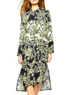 Full Leaf Print Long Sleeve Turn Down Collar Dress - Black L