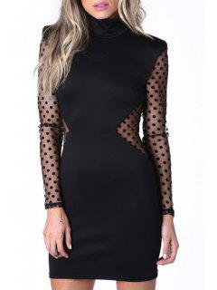 Turtle Neck Polka Dot See-Through Dress - Black Xl