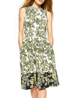 Full Leaf Print Stand Neck Sleeveless Dress - White Xl