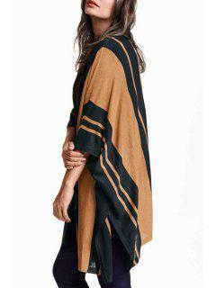 Striped Loose Fitting Batwing Sleeves Long Cardigan - Camel Xl