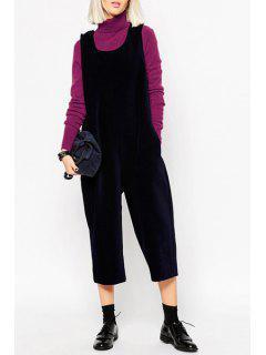 U-Neck Sleeveless Black Jumpsuit - Deep Blue M