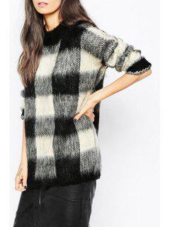 Long Sleeve Plaid Fuzzy Sweater - White And Black Xl