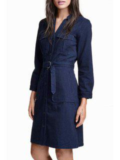 Long Sleeve Single-Breasted Belted Denim Dress - Purplish Blue 2xl