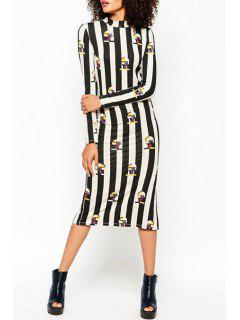 Printed Striped Stand Collar Long Sleeves Dress - Black L