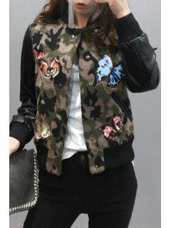 Butterfly Embroidery Stand Neck Jacket - Camouflage L
