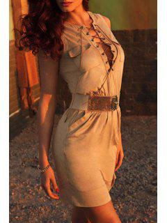 Lace-Up Packet Buttocks Suede Dress - Khaki