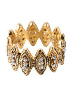 Rhinestone Hollow Out Ring - Golden