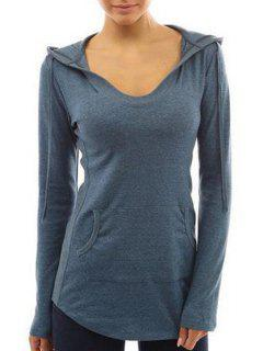 Front Pocket Long Sleeves Pullover Hoodie - Blue Xl