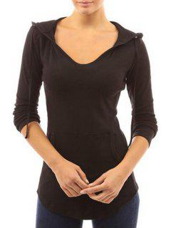 Front Pocket Long Sleeves Pullover Hoodie - Black Xl