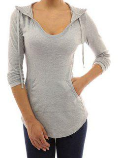 Front Pocket Long Sleeves Pullover Hoodie - Gray S