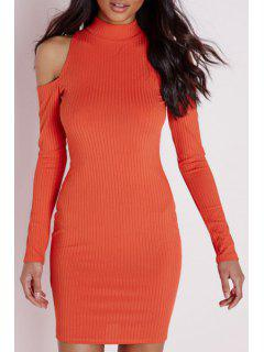 Cold Shoulder Solid Color Stand Neck Dress - Jacinth S
