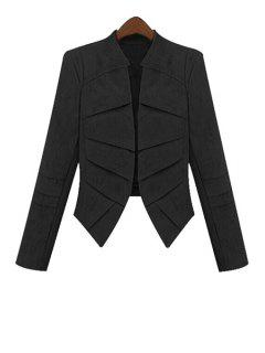 Solid Color Faux Suede Long Sleeve Coat - Black 5xl