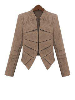 Solid Color Faux Suede Long Sleeve Coat - Khaki Xl