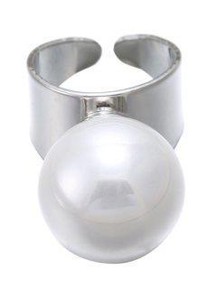 Faux Pearl Cuff Ring - Silver