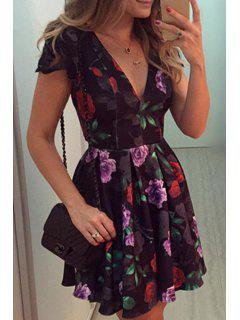 Plunging Neck Full Flower Print Dress - Black M
