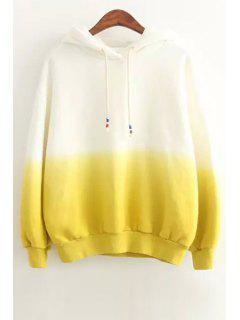 Ombre Color Pullover Sherpa Hoodie - Yellow