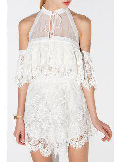 Lace Up See-Through Lace Spliced Romper - White M