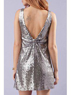 Backless Sequins Bowknot Sleeveless V-Neck Dress - Silver 2xl