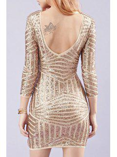 Backless Sequins 3/4 Sleeves Bodycon Dress - Golden M