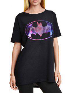 Bat Print Round Collar Short Sleeves T-Shirt - Black L