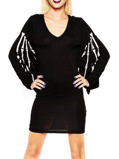 Skeleton Print V-Neck Batwing Sleeves Dress - Black L