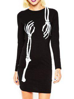 Skeleton Print Round Neck Long Sleeves Dress - Black Xs