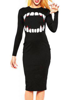 Vampire Print Round Neck Long Sleeves Dress - Black L