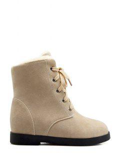 Suede Lace-Up Solid Colour Short Boots - Off-white 37