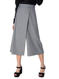 Houndstooth Print High Waisted Culotte Pants - White And Black 2xl