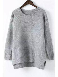 High-Low Round Neck Long Sleeve Jumper - Gray